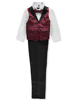 Boys' Brocade 4-Piece Vest Set Outfit by Kids World in Burgundy