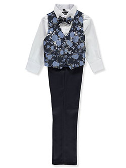 Vined Roses 4-Piece Vest Set Outfit by Kids World in Navy
