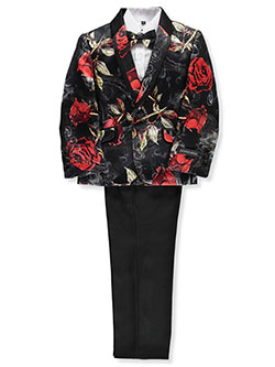 Boys' Brocade Rose 5-Piece Suit by Kids World in Black