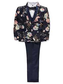 Boys' Textured Bouquet 5-Piece Suit by Kids World in Navy