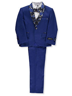 Glitter Rose Brocade-Trimmed 5-Piece Suit by Kids World in Royal blue