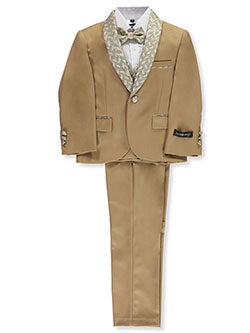 Glitter Brocade-Trimmed 5-Piece Suit by Kids World in brown and tan