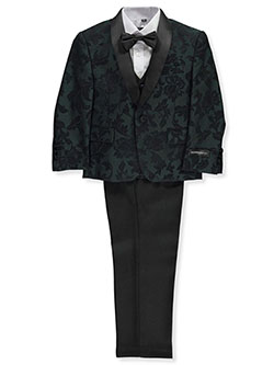 Boys' Leafy Brocade 5-Piece Suit by Kids World in Hunter green, Boys Fashion