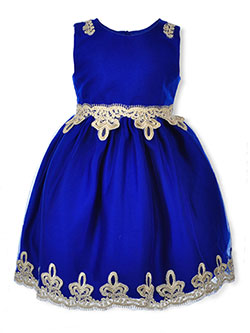Girls' Gleaming Trim Dress by Pink Butterfly in Royal blue