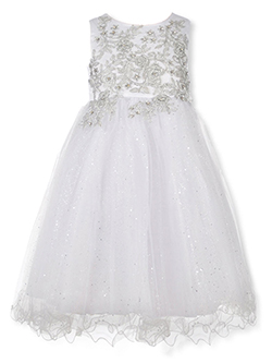 Girls' Fairy Glitter Dress by Pink Butterfly in Silver