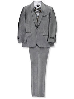 Husky Size Glitter Roses 5-Piece Suit by Kids World in Silver