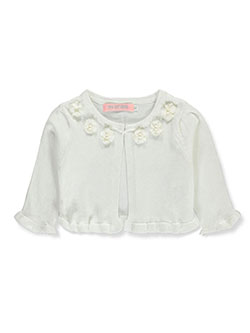 Beaded Rosettes Knit Shrug by Pink Butterfly in ivory, navy and red, Infants