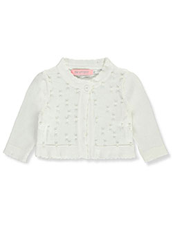 Pearly Scalloped-Trimmed Knit Shrug by Pink Butterfly in ivory, pink, red and white, Infants