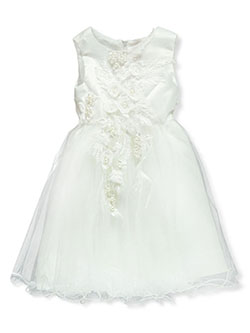 Pearl Embroidered Tulle Dress by Pink Butterfly in Off white