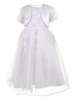 2-Piece Embroidered Tulle Dress Set by Pink Butterfly in White, Girls Fashion