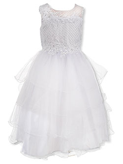 Embroidered 4-Tier Tulle Dress by Pink Butterfly in White