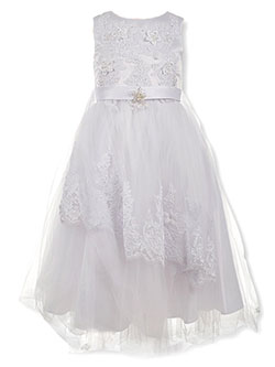 Embroidered Tiered Tulle Dress by Pink Butterfly in White