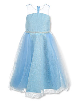 Girls' Glitter and Pearl Dress by Pink Butterfly in Ice blue