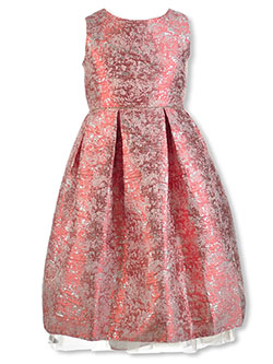 Girls' Burnished Metallic Dress by Pink Butterfly in Rose, Girls Fashion