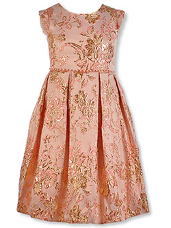 Girls' Metallic Scrollwork Dress by Pink Butterfly in Blush, Girls Fashion