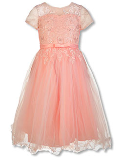 Girls' Pearly Floral Dress by Pink Butterfly in Blush, Girls Fashion