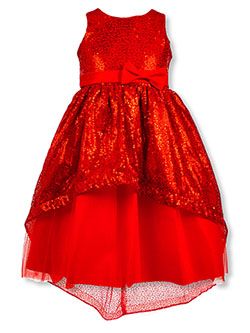 Girls' Glitter Hi-Low Dress by Pink Butterfly in Red