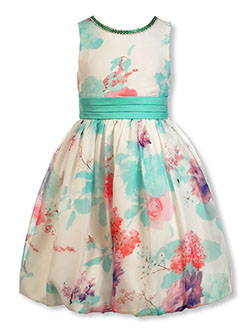 Girls' Watercolor Floral Dress by Pink Butterfly in Royal, Girls Fashion