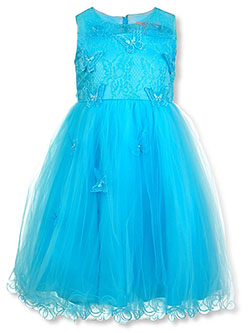 Girls' Pearl Butterfly Dress by Pink Butterfly in aqua and banana