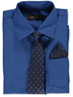 Button-Up Dress Shirt With Tie And Pocket Square by Alberto Danelli in Royal blue