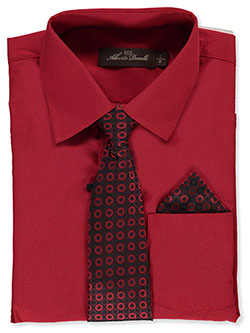 Button-Up Dress Shirt With Tie And Pocket Square by Alberto Danelli in Scarlet red
