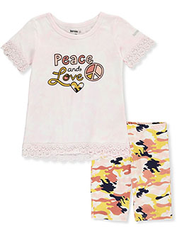Peace and Love 2-Piece Shorts Set Outfit by Kensie Girl in White