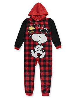 Girls' Plaid Music Hooded 1-Piece Pajamas by Peanuts in Red