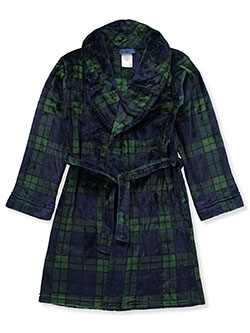 Boys' Velour Plaid Bathrobe by Saint Eve in Green