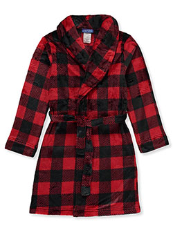 Boys' Velour Lumberjack Bathrobe by Saint Eve in Red