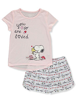 Girls' Snoopy 2-Piece Pajamas by Peanuts in Blush/multi, Sizes 7-16
