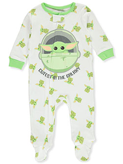 Baby Unisex Baby Yoda Footed Coveralls by Star Wars The Mandalorian in White, Infants