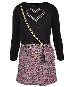 "Beautees Little Girls' ""Rhinestone Heart"" Dress with Purse (Sizes 4 – 6X) - CookiesKids.com"