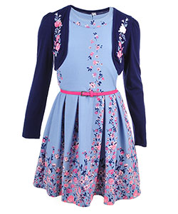 Beautees Girls' 2-Piece Belted Dress Set - CookiesKids.com