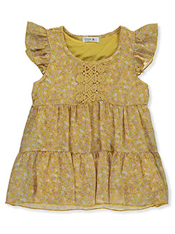 Flowers and Lace Chiffon Ruffle Babydoll Dress by Beautees in Mustard - Fashion Tops