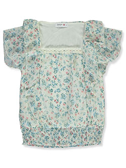 Girls' Floral and Lace Flutter Top by Beautees in Natural