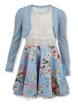 Girls' Floral Lace Scuba Dress With Shrug by Beautees in Sky blue