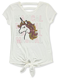 Girls' Magical Unicorn Top by Beautees in Ivory - Fashion Tops