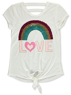 Girls' Love Rainbow Top by Beautees in Ivory - Fashion Tops