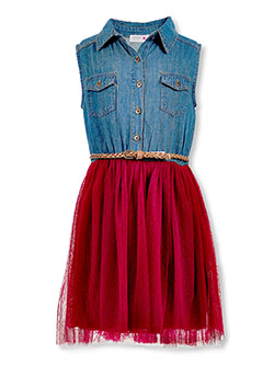 Girls' Denim and Tulle Belted Dress by Beautees in Wine
