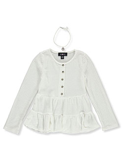 Girls' Waffle Tiered Top with Necklace by Amy Byer in ivory and rose