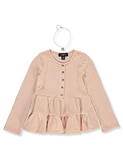 Girls' Waffle Tiered Top with Necklace by Amy Byer in Rose