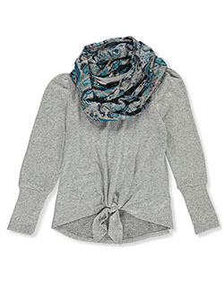Girls' Tie Hem Top with Scarf by Amy Byer in Gray