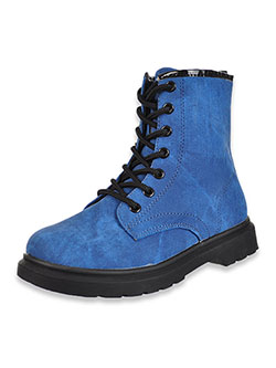 Girls' Denim Lace-Up Boots by Krazy Kicks in Blue, Shoes