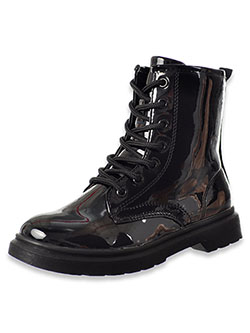 Girls' Patent Velvet Lace-Up Boots by Krazy Kicks in Black, Shoes