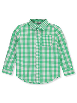 Gingham Contrast L/S Button-Down Shirt by Wonder Nation in Green/multi