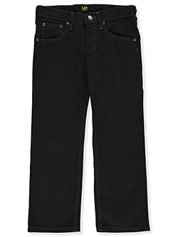 Boys' Husky Size Straight Fit Jeans by Lee in Black