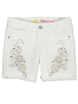 Girls' Floral Bejeweled Denim Midi Shorts by Lee in White