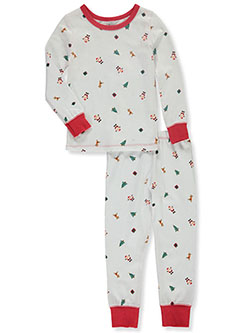 Toddler Unisex Cotton Holiday Theme 2-Piece Pajama Set by Sleepimini in White, Boys Fashion