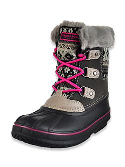 Girls' Knit Trim Snow Boots by London Fog in Gray/pink