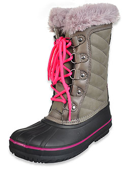 Girls' Quilted High Cuff Duck Boots by London Fog in Gray